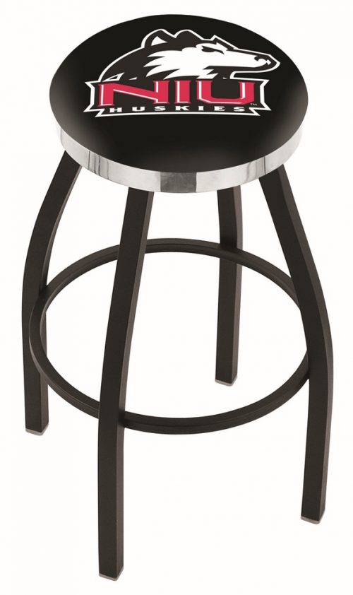 "Northern Illinois Huskies (L8B2C) 25"" Tall Logo Bar Stool by Holland Bar Stool Company (with Single Ring Swivel Black Solid Welded Base)"
