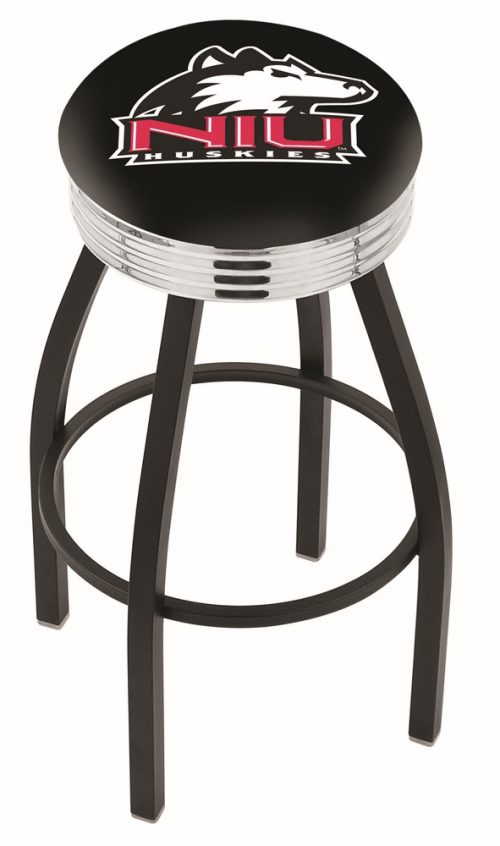 "Northern Illinois Huskies (L8B3C) 25"" Tall Logo Bar Stool by Holland Bar Stool Company (with Single Ring Swivel Black Solid Welded Base)"