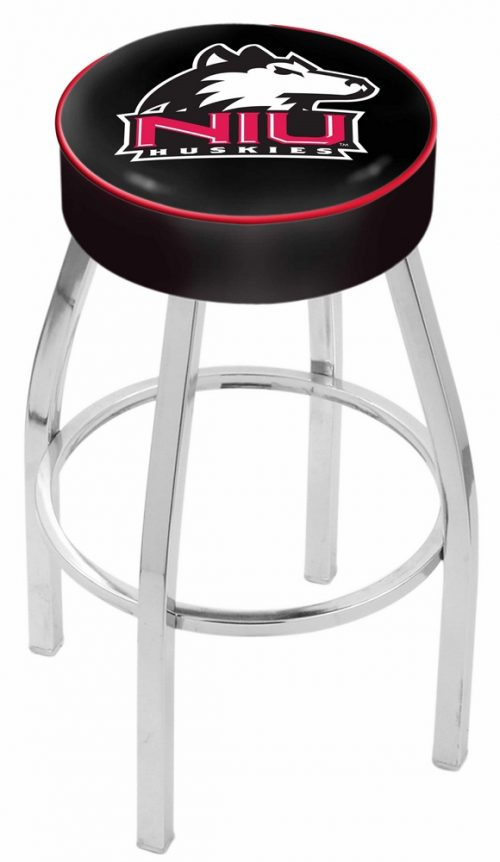"Northern Illinois Huskies (L8C1) 25"" Tall Logo Bar Stool by Holland Bar Stool Company (with Single Ring Swivel Chrome Solid Welded Base)"