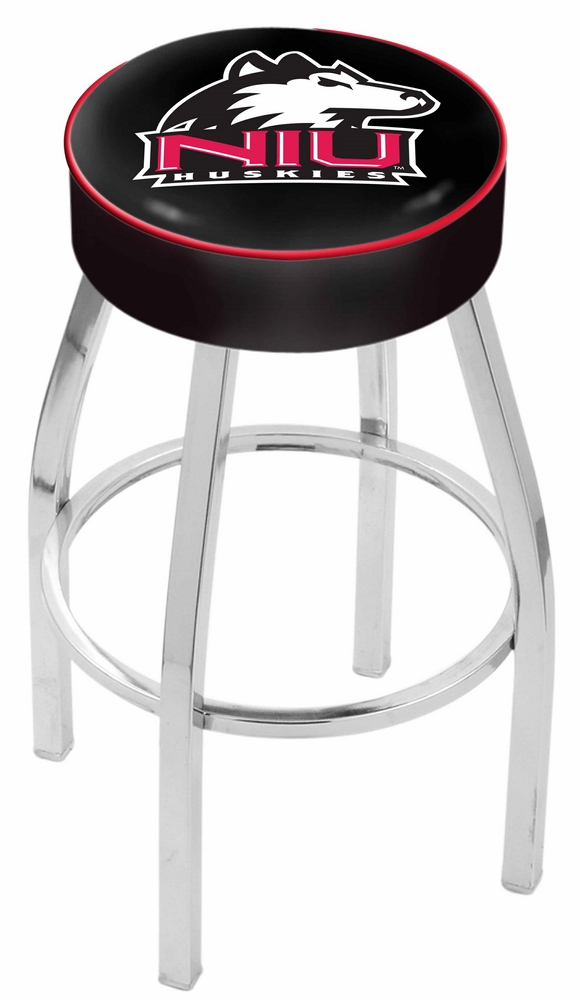 "Northern Illinois Huskies (L8C1) 30"" Tall Logo Bar Stool by Holland Bar Stool Company (with Single Ring Swivel Chrome Solid Welded Base)"