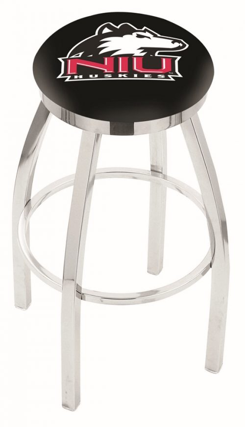 "Northern Illinois Huskies (L8C2C) 30"" Tall Logo Bar Stool by Holland Bar Stool Company (with Single Ring Swivel Chrome Solid Welded Base)"