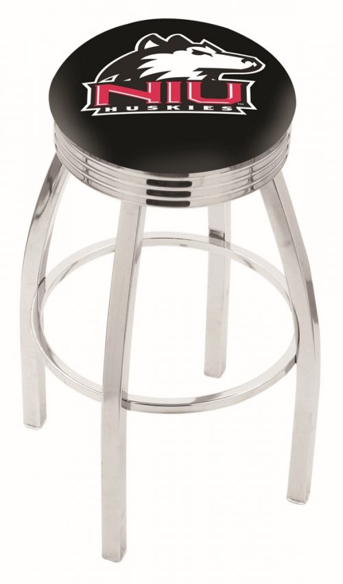 """Northern Illinois Huskies (L8C3C) 25"""" Tall Logo Bar Stool by Holland Bar Stool Company (with Single Ring Swivel Chrome Solid Welded Base)"""