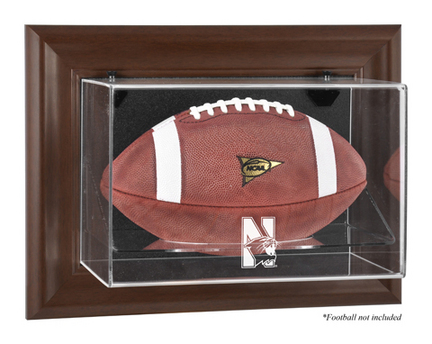 Northwestern Wildcats Brown Framed Wall Mountable Logo Football Display Case
