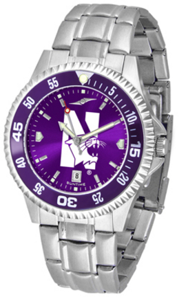 Northwestern Wildcats Competitor AnoChrome Men's Watch with Steel Band and Colored Bezel