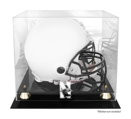 Northwestern Wildcats Golden Classic Logo Football Helmet Display Case with Mirror Back