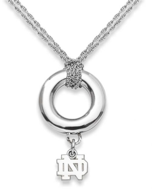 "Notre Dame Fighting Irish 3/8"" ""ND"" Sterling Silver Halo Necklace"