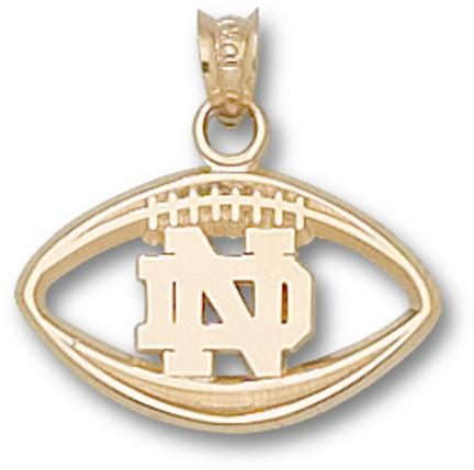 "Notre Dame Fighting Irish ""ND Pierced Football"" Pendant - 10KT Gold Jewelry"
