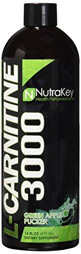 Nutrakey 6150122 Liquid L-Carnitine 3000 Nutritional Supplement Green Apple Pucker - 31 Serving