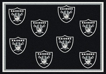 "Oakland Raiders 3' 10"" x 5' 4"" Team Repeat Area Rug (Black)"
