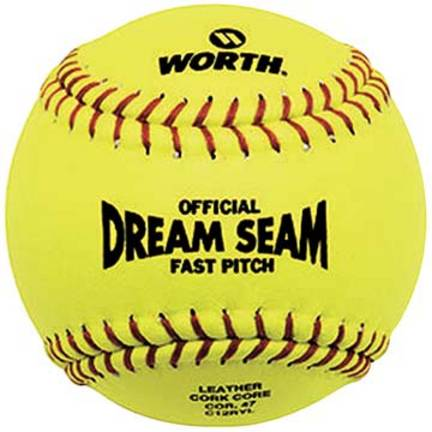 "Official 12"" Dream Seam Fast Pitch Softballs from Worth - 1 Dozen"