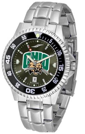 Ohio Bobcats Competitor AnoChrome Men's Watch with Steel Band and Colored Bezel