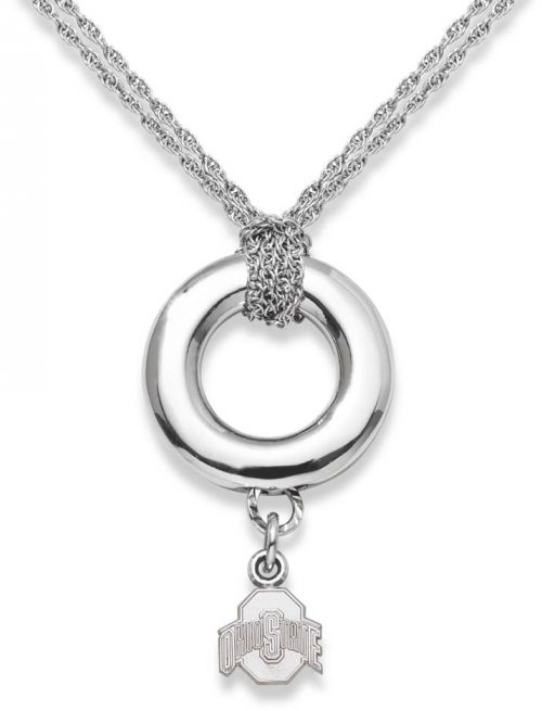 "Ohio State Buckeyes 3/8"" Block ""O"" Sterling Silver Halo Necklace"