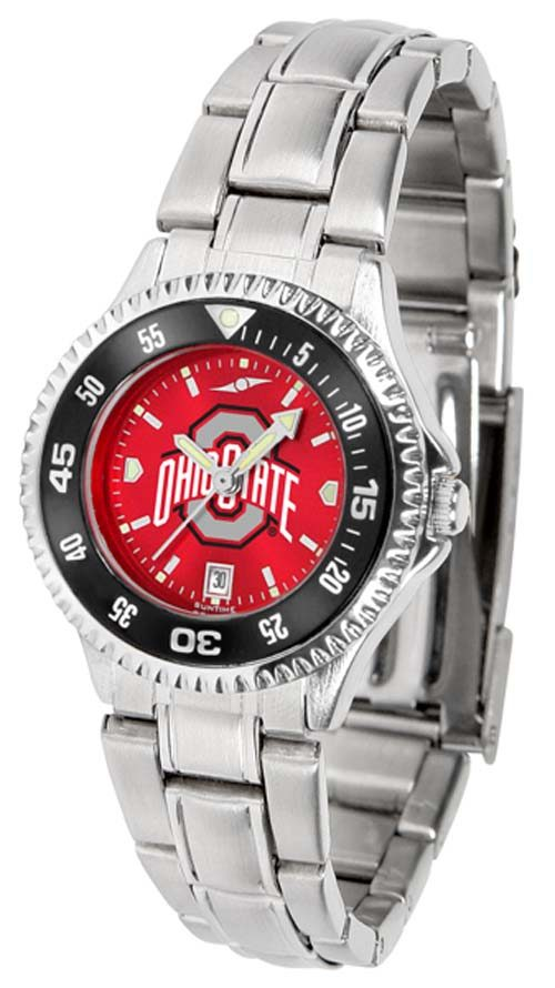 Ohio State Buckeyes Competitor AnoChrome Ladies Watch with Steel Band and Colored Bezel