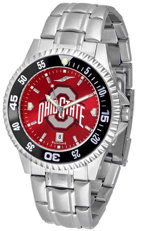 Ohio State Buckeyes Competitor AnoChrome Men's Watch with Steel Band and Colored Bezel