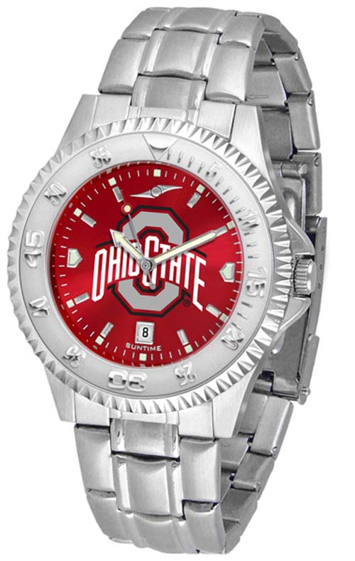 Ohio State Buckeyes Competitor AnoChrome Men's Watch with Steel Band