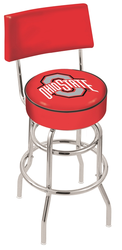"Ohio State Buckeyes (L7C4) 25"" Tall Logo Bar Stool by Holland Bar Stool Company (with Double Ring Swivel Chrome Base and Chair Seat Back)"