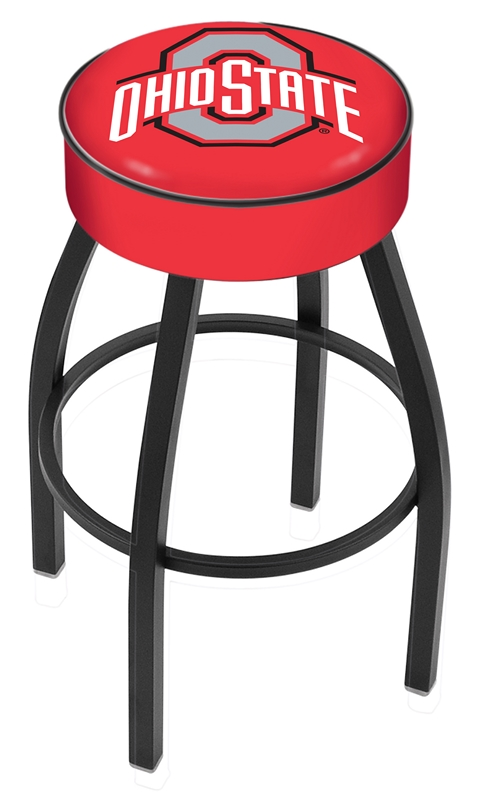 "Ohio State Buckeyes (L8B1) 25"" Tall Logo Bar Stool by Holland Bar Stool Company (with Single Ring Swivel Black Solid Welded Base)"
