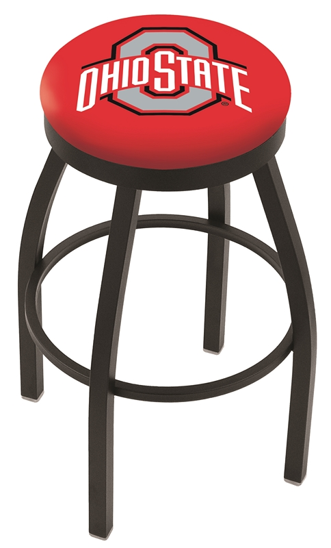 "Ohio State Buckeyes (L8B2B) 25"" Tall Logo Bar Stool by Holland Bar Stool Company (with Single Ring Swivel Black Solid Welded Base)"
