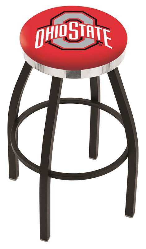 "Ohio State Buckeyes (L8B2C) 30"" Tall Logo Bar Stool by Holland Bar Stool Company (with Single Ring Swivel Black Solid Welded Base)"