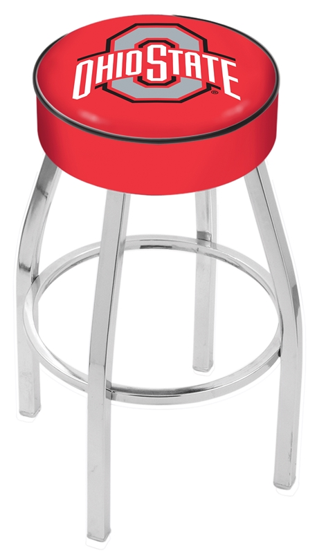 "Ohio State Buckeyes (L8C1) 30"" Tall Logo Bar Stool by Holland Bar Stool Company (with Single Ring Swivel Chrome Solid Welded Base)"