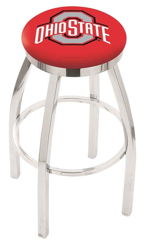 "Ohio State Buckeyes (L8C2C) 25"" Tall Logo Bar Stool by Holland Bar Stool Company (with Single Ring Swivel Chrome Solid Welded Base)"
