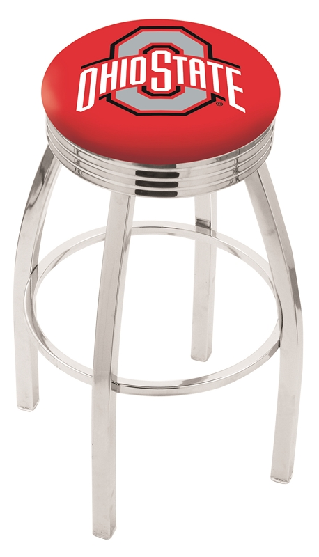 "Ohio State Buckeyes (L8C3C) 30"" Tall Logo Bar Stool by Holland Bar Stool Company (with Single Ring Swivel Chrome Solid Welded Base)"