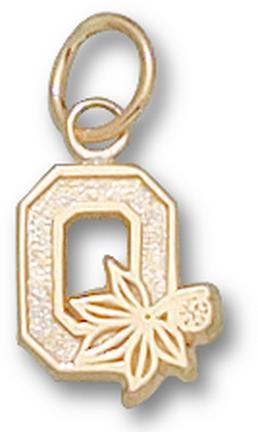 """Ohio State Buckeyes """"O"""" 3/8"""" Charm - 14KT Gold Jewelry"""