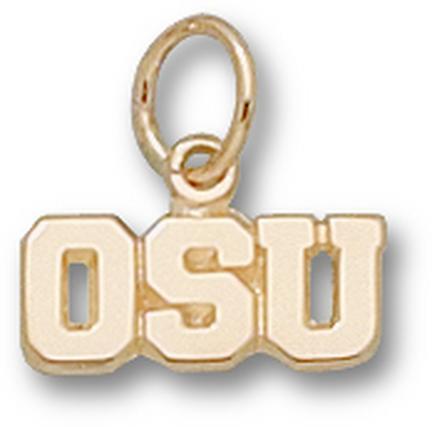 """Ohio State Buckeyes """"OSU"""" 3/16"""" Charm - 14KT Gold Jewelry"""
