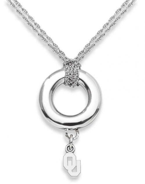 """Oklahoma Sooners 3/8"""" """"OU"""" Sterling Silver Halo Necklace"""