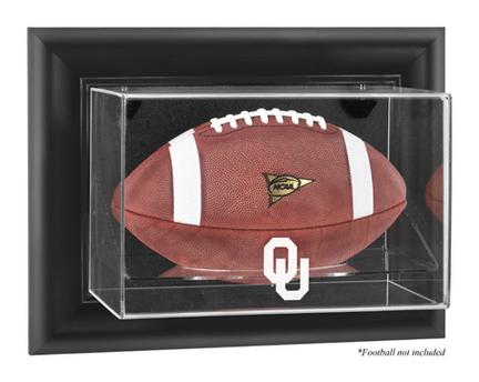Oklahoma Sooners Black Framed Wall Mountable Logo Football Display Case