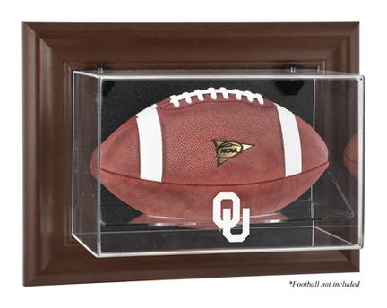 Oklahoma Sooners Brown Framed Wall Mountable Logo Football Display Case