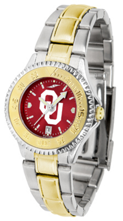 Oklahoma Sooners Competitor AnoChrome Ladies Watch with Two-Tone Band