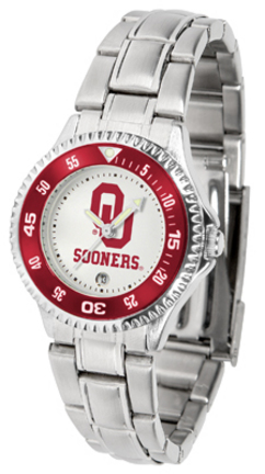 Oklahoma Sooners Competitor Ladies Watch with Steel Band