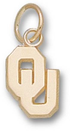 "Oklahoma Sooners New ""OU"" 3/8"" Charm - 14KT Gold Jewelry"