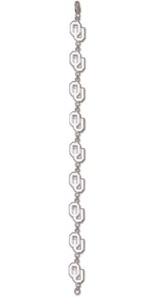 "Oklahoma Sooners ""OU"" Bracelet - Sterling Silver Jewelry"