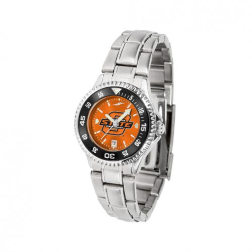 Oklahoma State Cowboys Competitor AnoChrome Ladies Watch with Steel Band and Colored Bezel