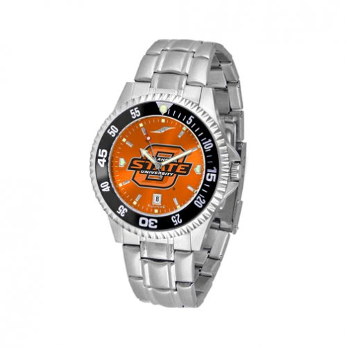 Oklahoma State Cowboys Competitor AnoChrome Men's Watch with Steel Band and Colored Bezel