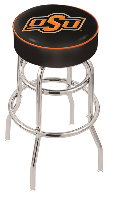 "Oklahoma State Cowboys (L7C1) 30"" Tall Logo Bar Stool by Holland Bar Stool Company (with Double Ring Swivel Chrome Base)"