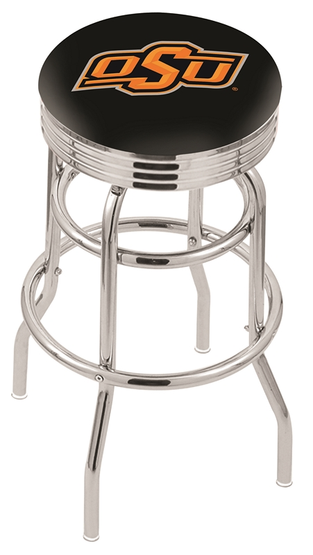 "Oklahoma State Cowboys (L7C3C) 30"" Tall Logo Bar Stool by Holland Bar Stool Company (with Double Ring Swivel Chrome Base)"