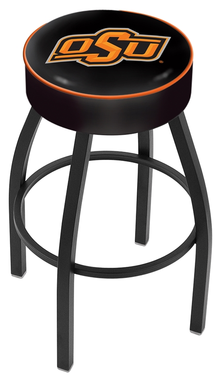 "Oklahoma State Cowboys (L8B1) 25"" Tall Logo Bar Stool by Holland Bar Stool Company (with Single Ring Swivel Black Solid Welded Base)"