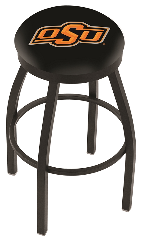 "Oklahoma State Cowboys (L8B2B) 30"" Tall Logo Bar Stool by Holland Bar Stool Company (with Single Ring Swivel Black Solid Welded Base)"