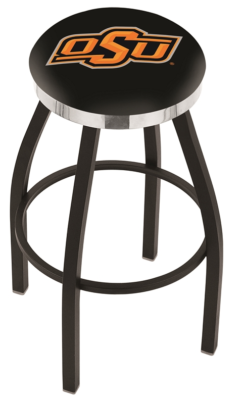 """Oklahoma State Cowboys (L8B2C) 30"""" Tall Logo Bar Stool by Holland Bar Stool Company (with Single Ring Swivel Black Solid Welded Base)"""