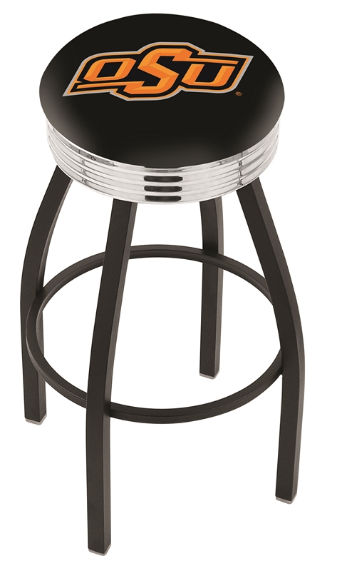 """Oklahoma State Cowboys (L8B3C) 25"""" Tall Logo Bar Stool by Holland Bar Stool Company (with Single Ring Swivel Black Solid Welded Base)"""