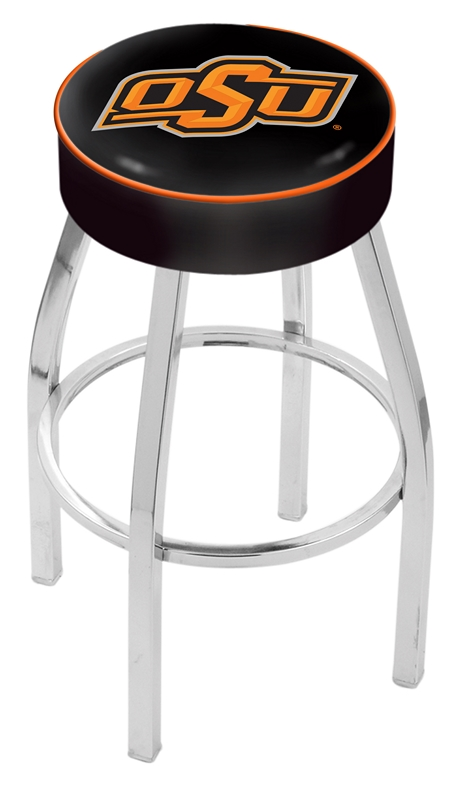 """Oklahoma State Cowboys (L8C1) 30"""" Tall Logo Bar Stool by Holland Bar Stool Company (with Single Ring Swivel Chrome Solid Welded Base)"""