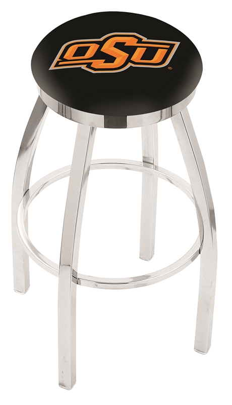 """Oklahoma State Cowboys (L8C2C) 25"""" Tall Logo Bar Stool by Holland Bar Stool Company (with Single Ring Swivel Chrome Solid Welded Base)"""