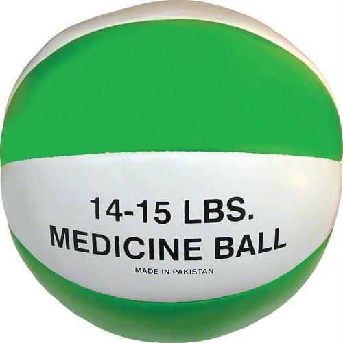 Olympia Sports BA047P Syn. Leather Medicine Ball - 14-15 lbs. - green
