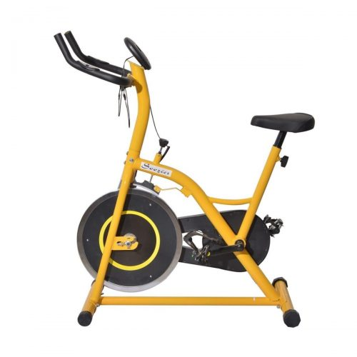 Online Gym Shop CB15946 Upright Stationary Exercise Cycling Bike with LCD Monitor Yellow & Black