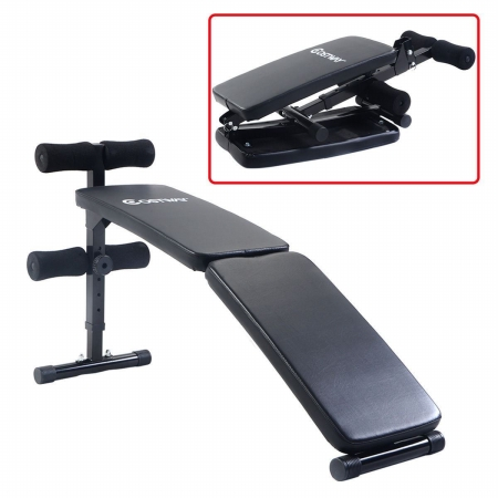 Online Gym Shop CB16912 Adjustable Folding Arc-Shaped Sit Up Bench Gym Home Exercise Fitness Workout