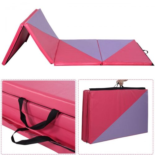 Online Gym Shop CB17013 Gymnastics Tumbling & Martial Arts Folding Mat 4 x 10 ft. x 2 in. - Pink & Purple