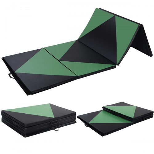 Online Gym Shop CB17014 Gymnastics Tumbling & Martial Arts Folding Mat 4 x 10 ft. x 2 in. - Green & Black